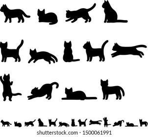 Illustration set of cat silhouette