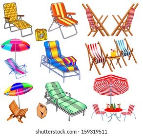 illustration of a set of chairs, sun beds and umbrellas for the beach.