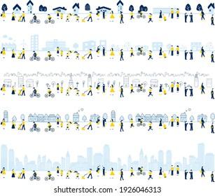 conjunto de ilustraciones de ciudad, ciudad, área de fábrica y gente de estilo de vida