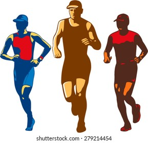 Illustration of a set or collection of triathlete marathon runner running facing front done in retro style on isolated background.