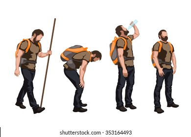 illustration of set of colored male tourist in different poses on white background