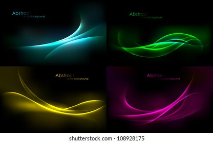 illustration of set of colorful abstract vector background