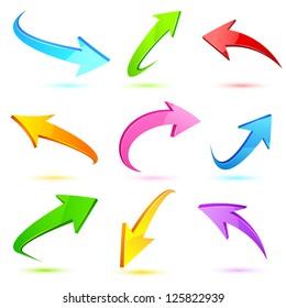 illustration of set of colorful arrow on white background