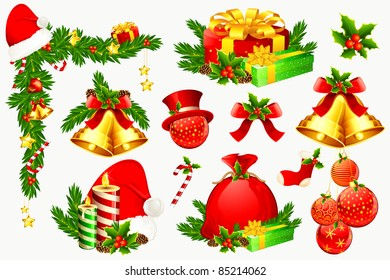 illustration of set of colorful element for christmas decoration