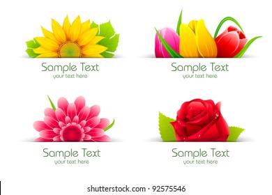 illustration of set of colorful flower in banner