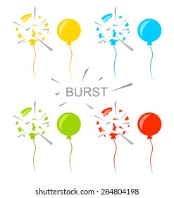 Illustration Set Colorful Popped Balloons Isolated on White Background - Vector