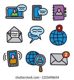 illustration of set communication icons for computer applications