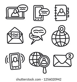 illustration of set communication icons for network applications
