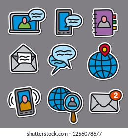 illustration of set communication stickers for web applications