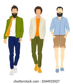 Illustration set of confident adult men wearing casual modern clothes