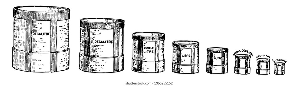 An illustration of a set of containers used to measure volumes of litres, vintage line drawing or engraving illustration.