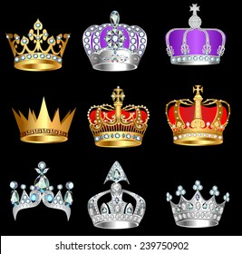 illustration set of crowns with precious stones on a black background