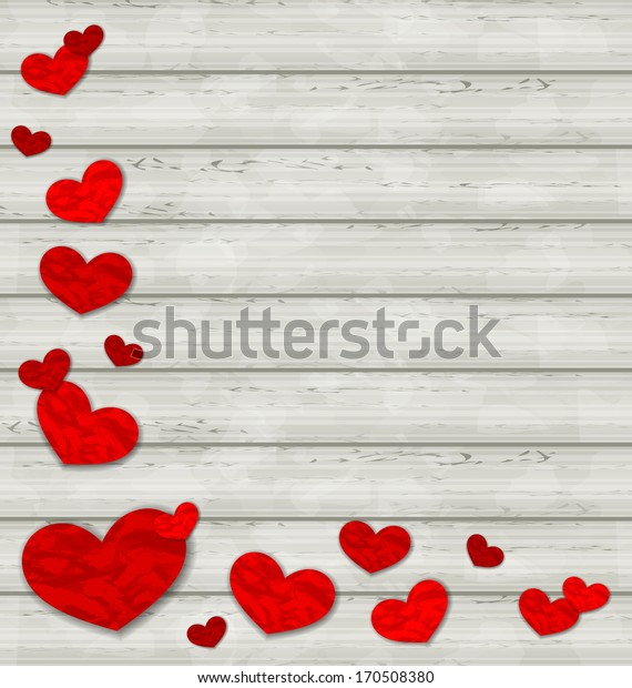 Illustration set crumpled paper hearts on wooden background - vector