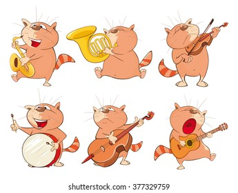 Illustration of a Set of a Cute Cartoon Cats for you Design