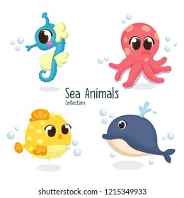 Illustration set of Cute Sea Animal, Seahorse, Octopus, Puffer Fish, Whale with Cartoon Style