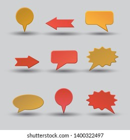illustration of set different advertising bubbles shapes with shadows