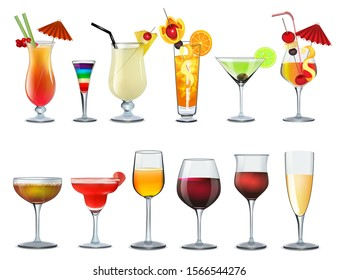 Illustration of a set of different bar glasses with wine and different cocktails decorated with fruit tubes and umbrellas.