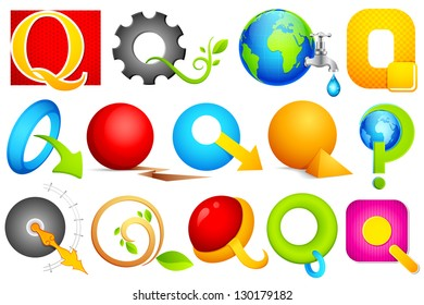 illustration of set of different colorful icon for alphabet Q