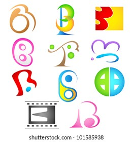 illustration of set of different colorful logo icon for alphabet b