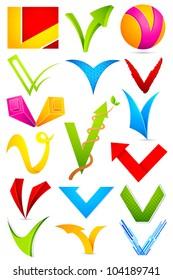 illustration of set of different colorful logo icon for alphabet V