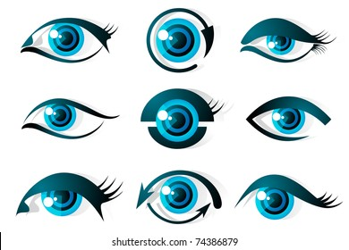 illustration of set of different shape of eye on isolated background