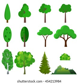Illustration of a set of different trees. Vector illustration in flat style