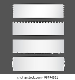 illustration of set of different type of ripped paper