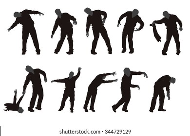 illustration of set of different zombie silhouettes isolated
