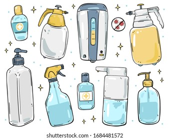 Illustration set of dispensers, sprays and bottles for soap and disinfectant gel. Color image on a white background.