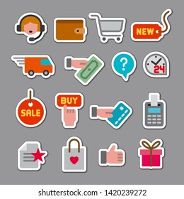 illustration of set e-commerce shop and business stickers
