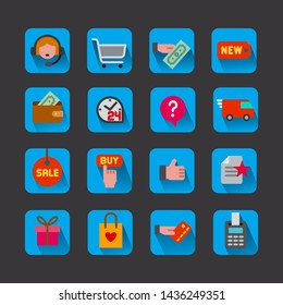 illustration of set e-commerce shop and business