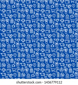 illustration of set e-commerce shop and business seamless pattern