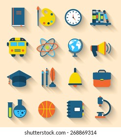 Illustration Set of Education Flat Colorful Icons with Long Shadow Style - Vector