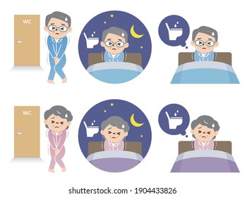 Ensemble d'illustrations d'hommes et de femmes âgés qui manquent de sommeil à cause de la nocturne