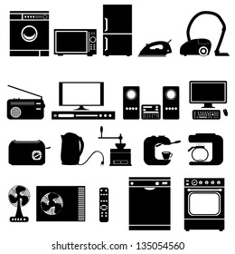 illustration with set of electronic  home   devices