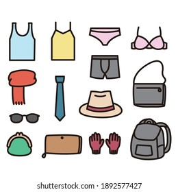 Illustration set of fashion miscellaneous goods