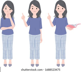 Illustration set of female office worker drawn in vector