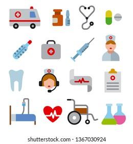 illustration set of flat color medicine icons