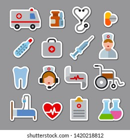 illustration set of flat color medicine stickers and icons