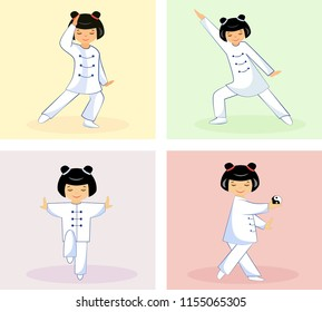Illustration of a set of four Chinese girls performing Taichi and qigong exercises