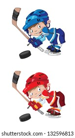illustration of a set funny boy hockey