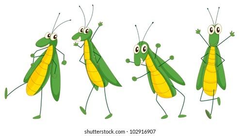 Illustration of a set of funny grasshopper