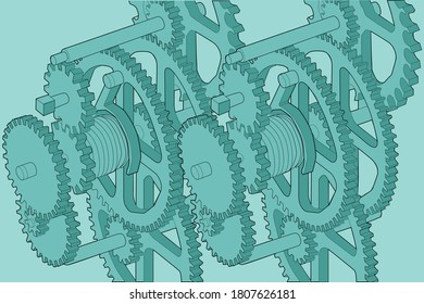 Illustration of set of gears part of the mechanism of a clock