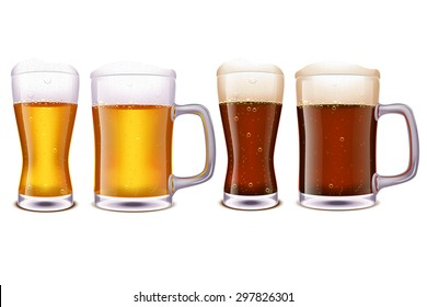 illustration of set of glasses with different type of beer and type of glasses