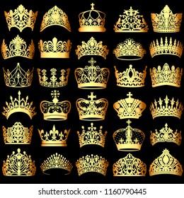 Illustration of a set of gold crowns on a black background