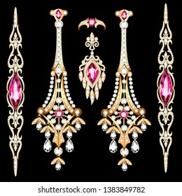 Illustration of a set of gold jewelry with precious stones