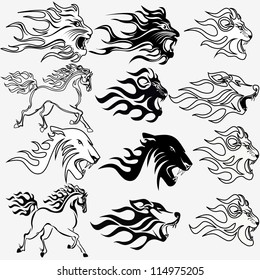 illustration set of graphic tattoos fire horse lion wolf and panther
