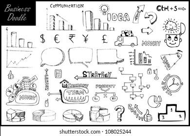 illustration of set of hand drawn business element