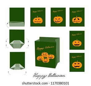 Lantern blueprint images stock photos vectors shutterstock illustration set of happy jack o lantern pumpkins and evils paper bag mock up malvernweather Image collections