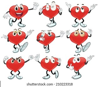 Illustration of a set of heart with gestures
